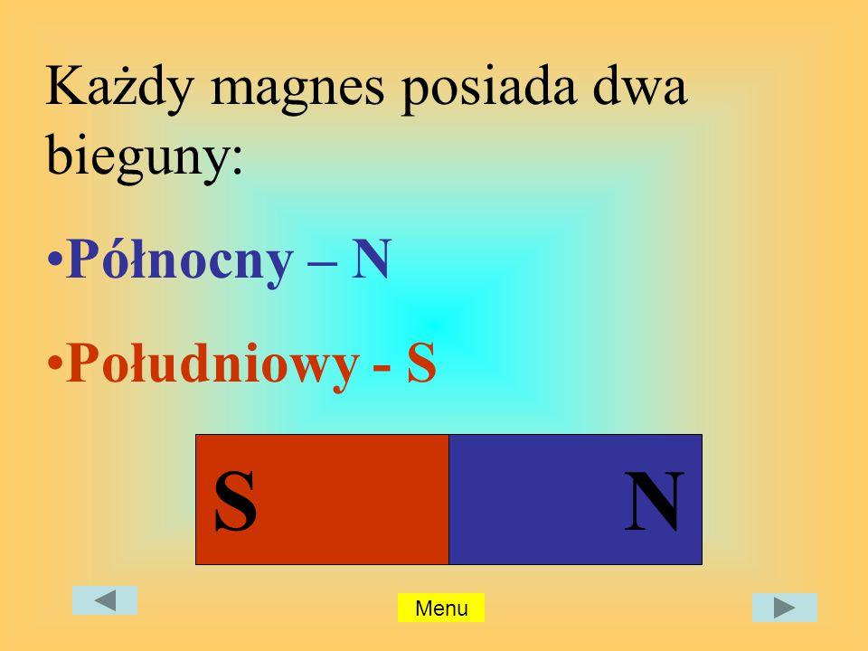 Każdy magnes posiada dwa bieguny: