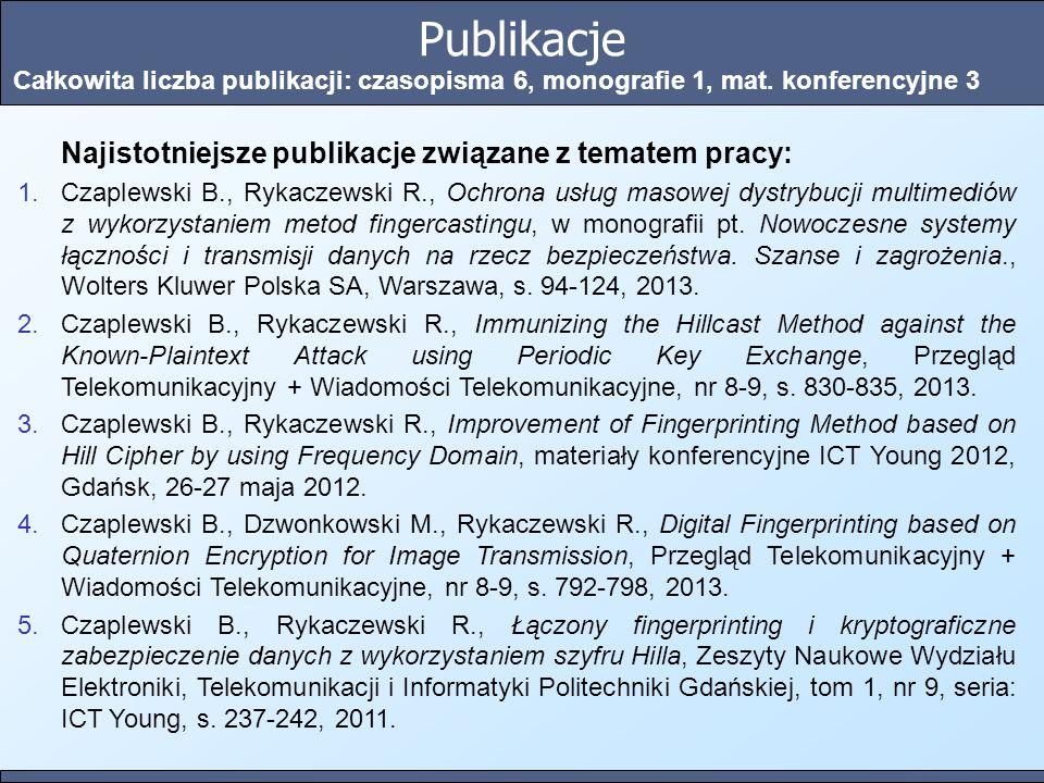Publikacje Najistotniejsze publikacje związane z tematem pracy: