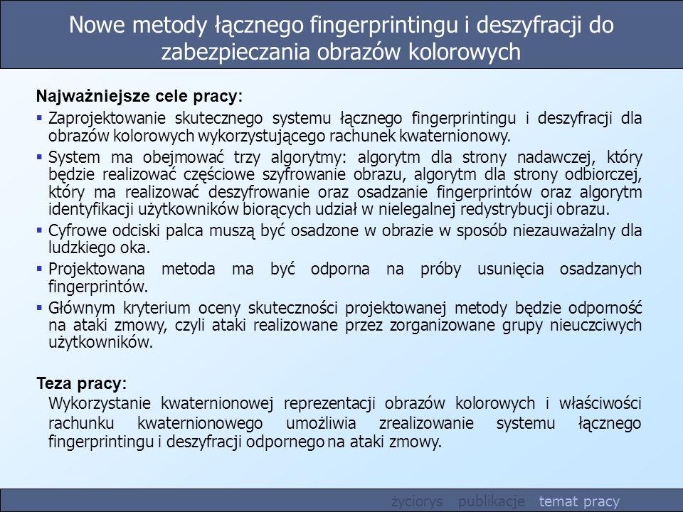 Nowe metody łącznego fingerprintingu i deszyfracji do zabezpieczania obrazów kolorowych