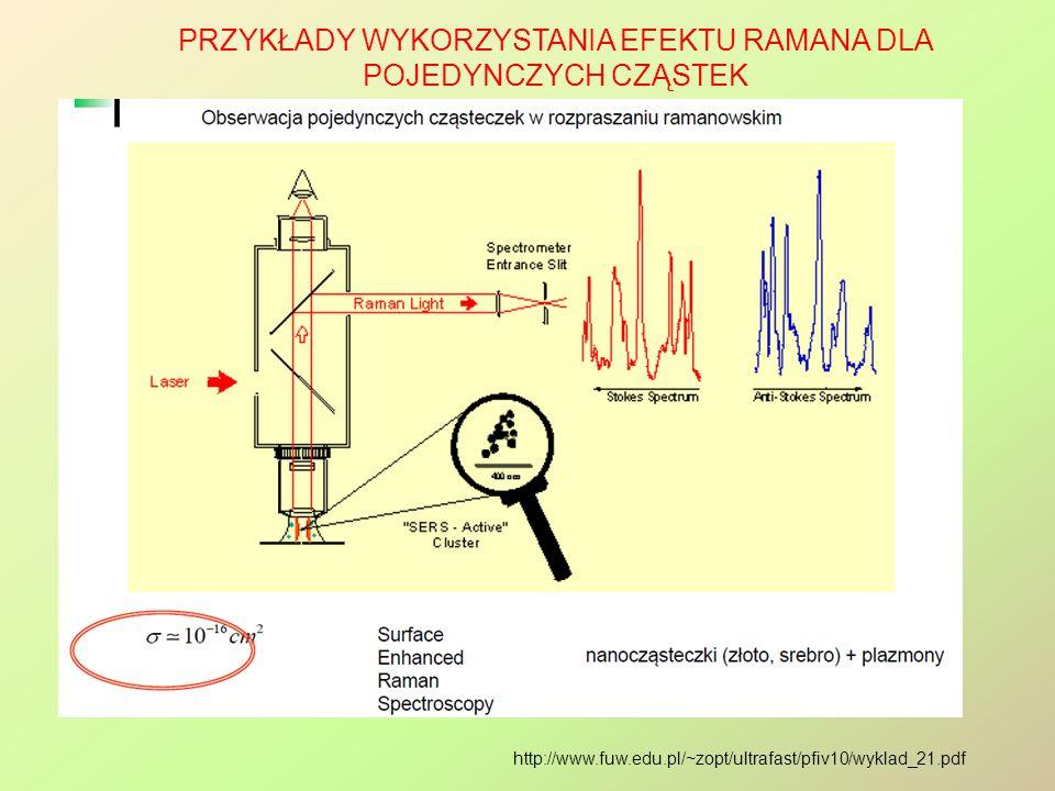 Przykłady wykorzystania efektu Ramana dla pojedynczych cząstek