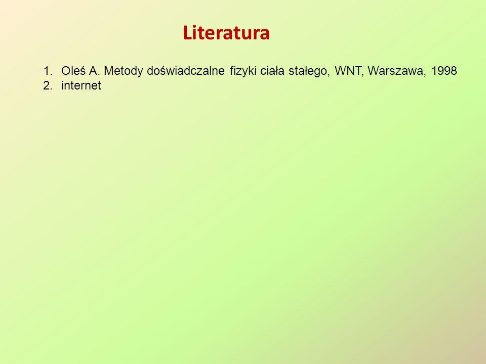 Literatura Oleś A. Metody doświadczalne fizyki ciała stałego, WNT, Warszawa, 1998 internet