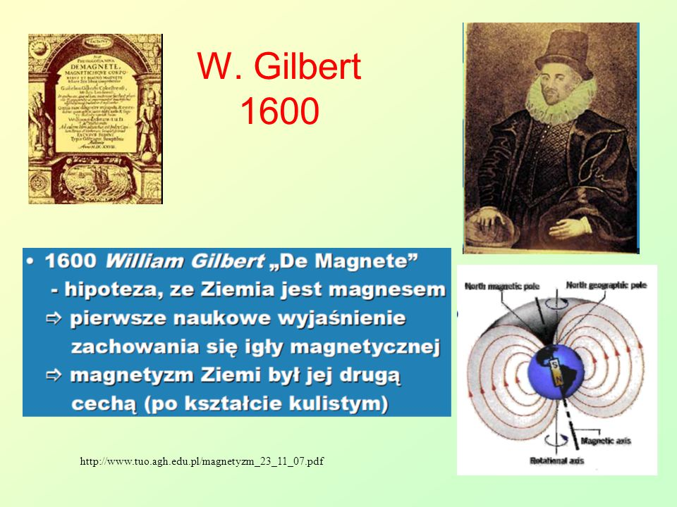 W. Gilbert 1600 http://www.tuo.agh.edu.pl/magnetyzm_23_11_07.pdf