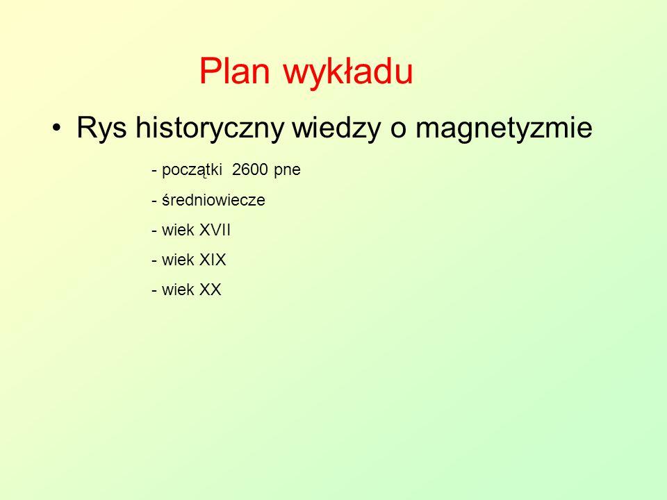 Plan wykładu Rys historyczny wiedzy o magnetyzmie początki 2600 pne