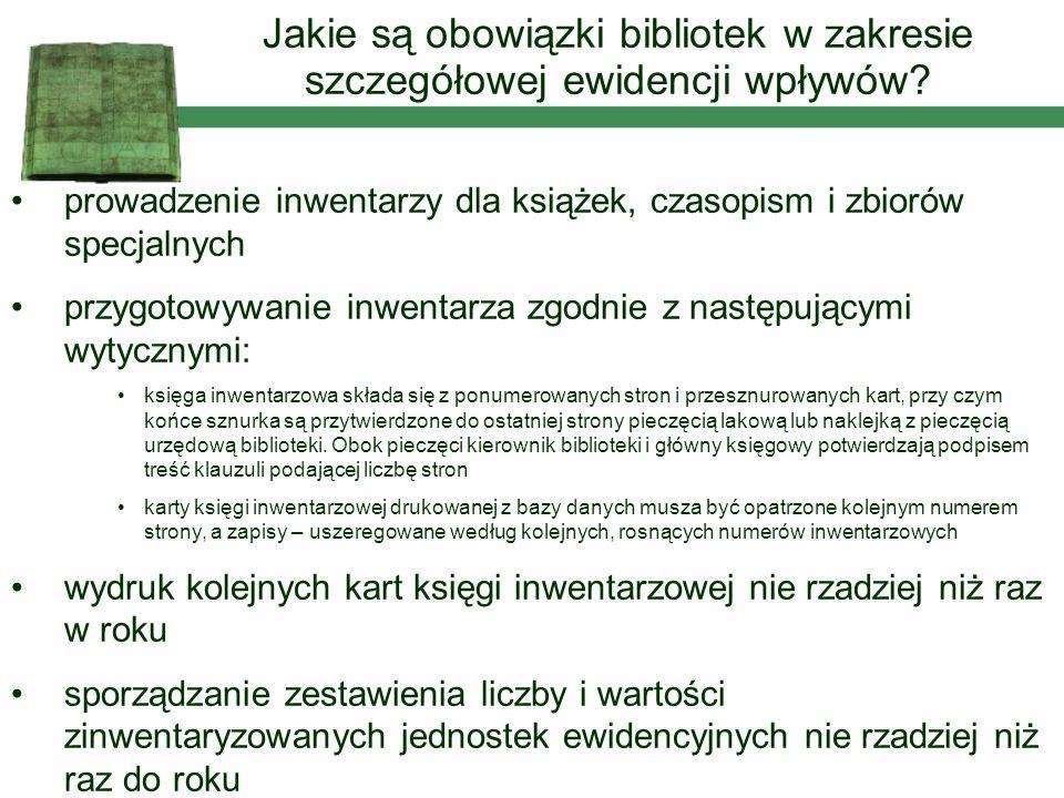 Jakie są obowiązki bibliotek w zakresie szczegółowej ewidencji wpływów