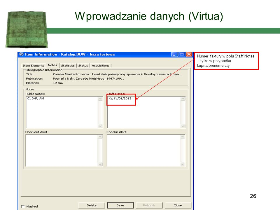 Wprowadzanie danych (Virtua)
