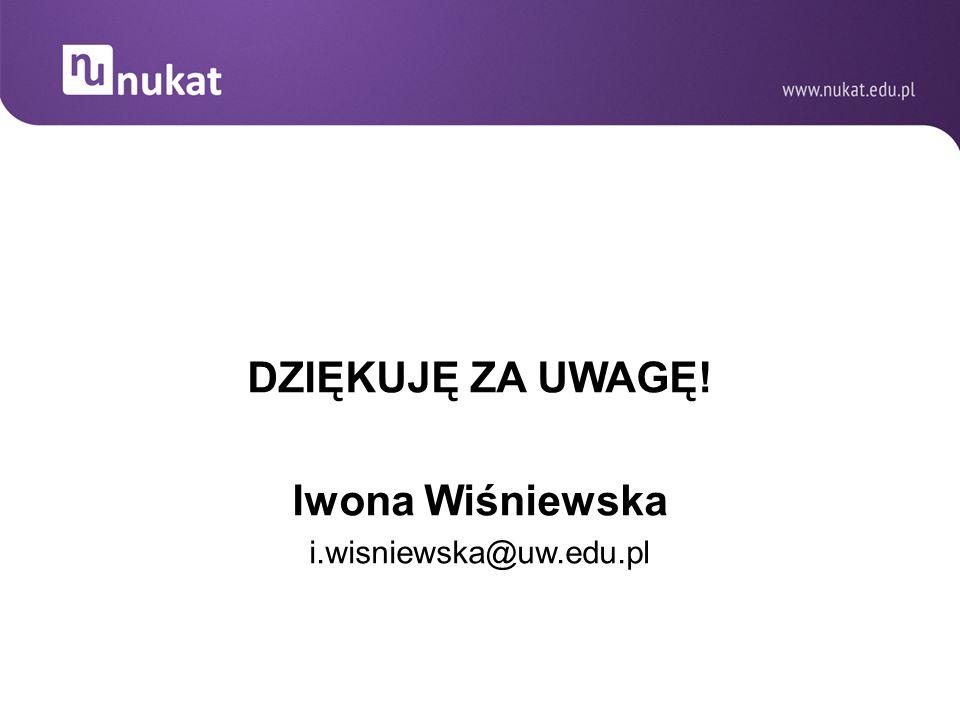 DZIĘKUJĘ ZA UWAGĘ! Iwona Wiśniewska