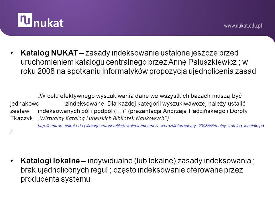 Katalog NUKAT – zasady indeksowanie ustalone jeszcze przed uruchomieniem katalogu centralnego przez Annę Paluszkiewicz ; w roku 2008 na spotkaniu informatyków propozycja ujednolicenia zasad