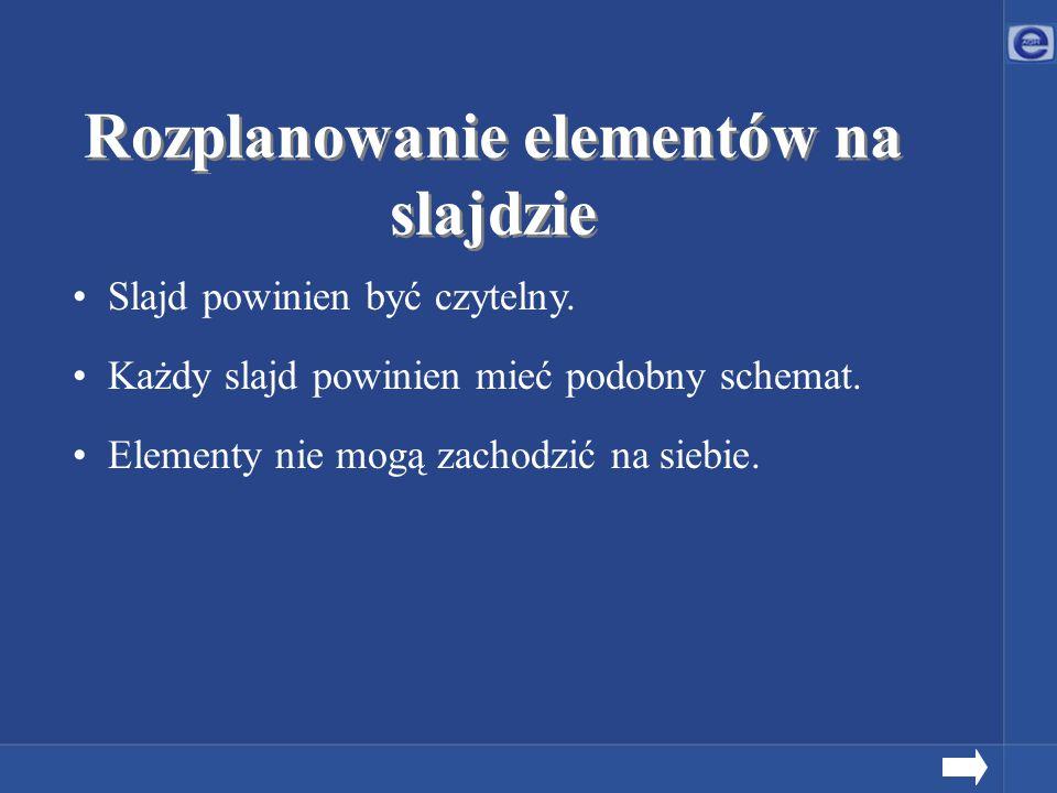 Rozplanowanie elementów na slajdzie