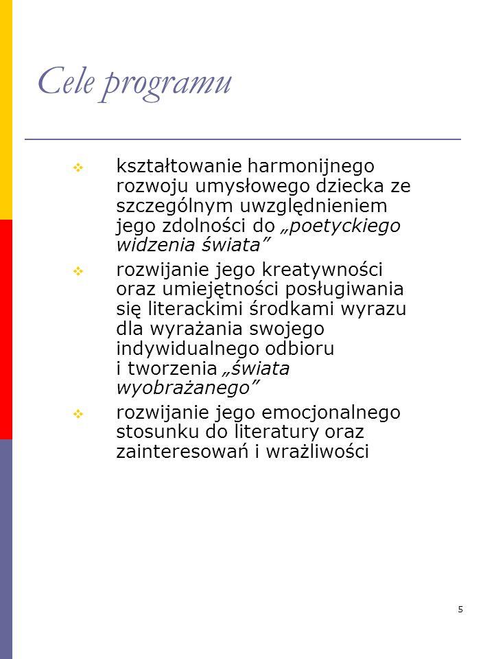 """Cele programu kształtowanie harmonijnego rozwoju umysłowego dziecka ze szczególnym uwzględnieniem jego zdolności do """"poetyckiego widzenia świata"""