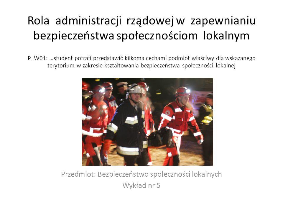 Przedmiot: Bezpieczeństwo społeczności lokalnych Wykład nr 5