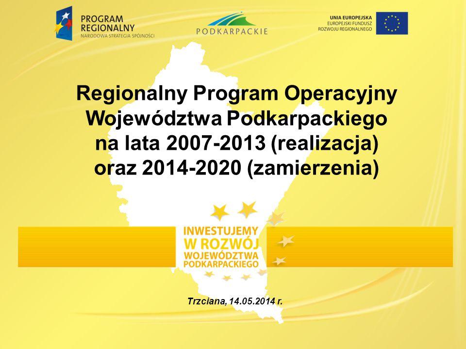 Regionalny Program Operacyjny Województwa Podkarpackiego na lata 2007-2013 (realizacja) oraz 2014-2020 (zamierzenia)
