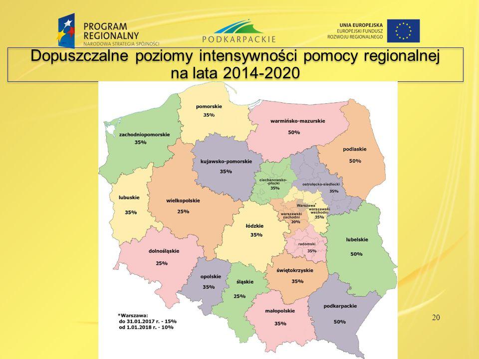 Dopuszczalne poziomy intensywności pomocy regionalnej na lata 2014-2020