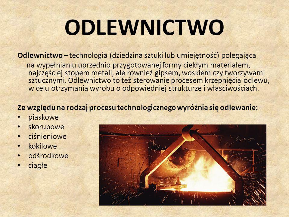 ODLEWNICTWO Odlewnictwo – technologia (dziedzina sztuki lub umiejętność) polegająca.