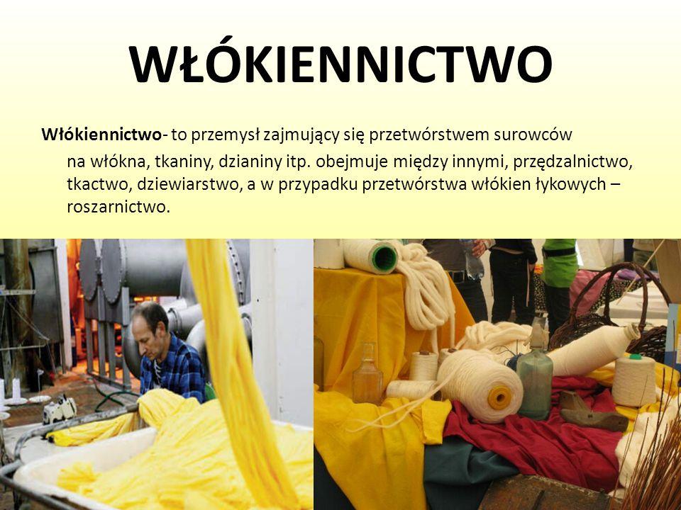 WŁÓKIENNICTWO Włókiennictwo- to przemysł zajmujący się przetwórstwem surowców.