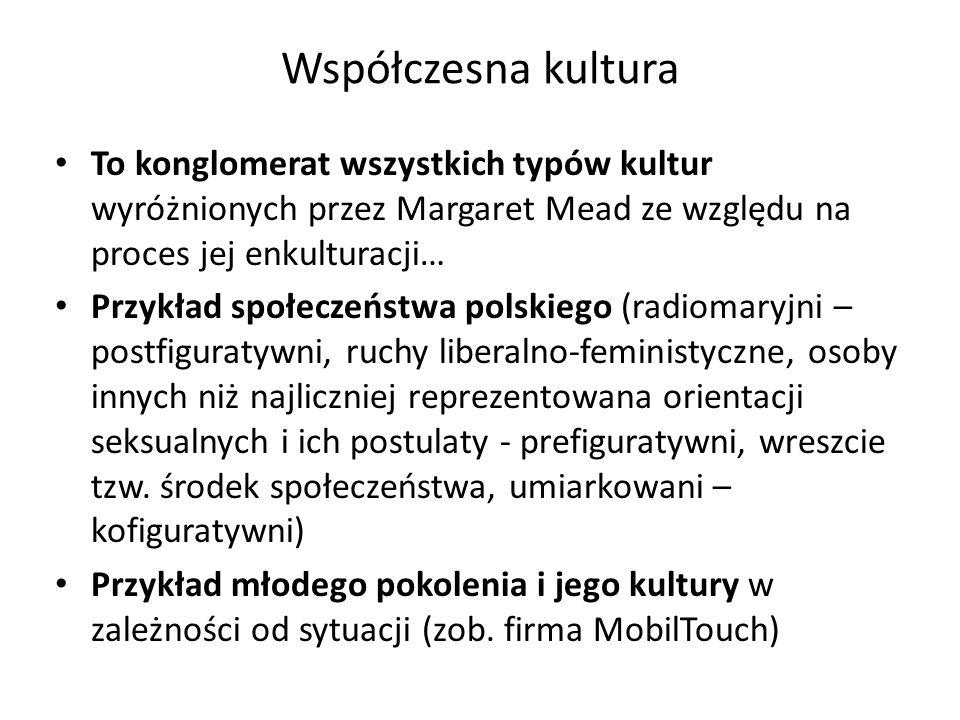 Współczesna kultura To konglomerat wszystkich typów kultur wyróżnionych przez Margaret Mead ze względu na proces jej enkulturacji…
