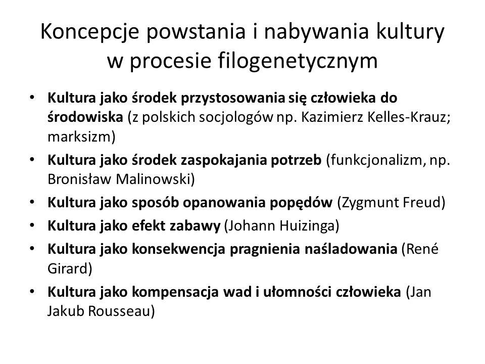 Koncepcje powstania i nabywania kultury w procesie filogenetycznym