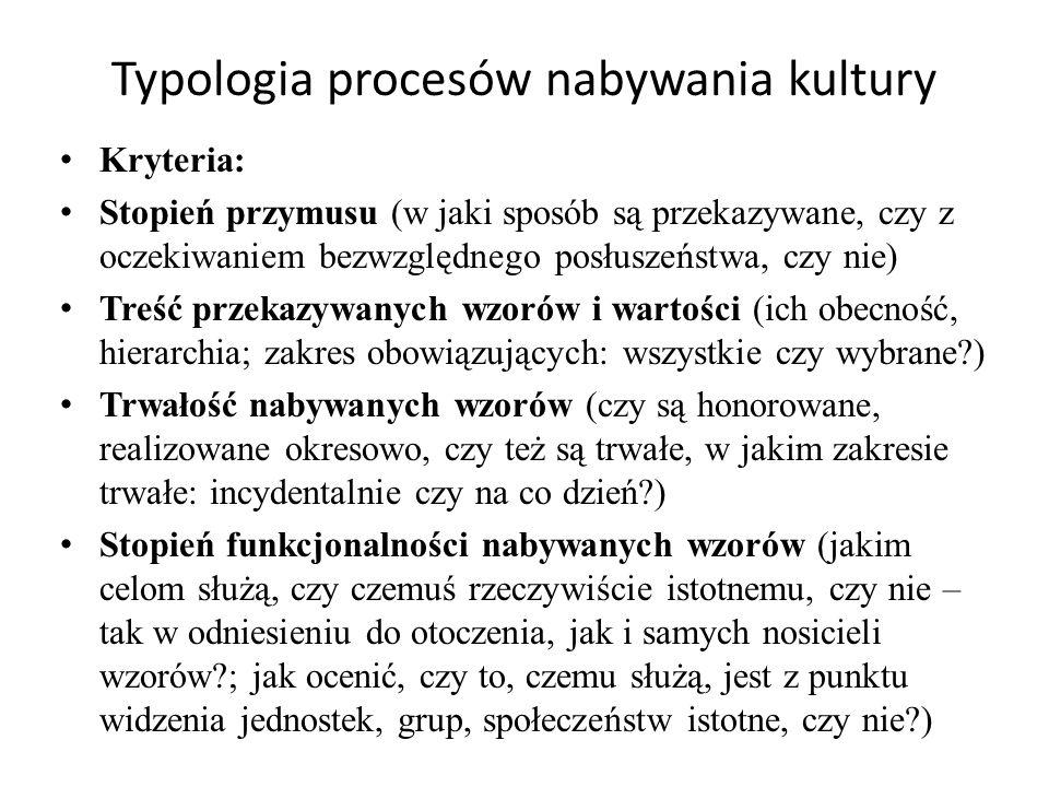 Typologia procesów nabywania kultury