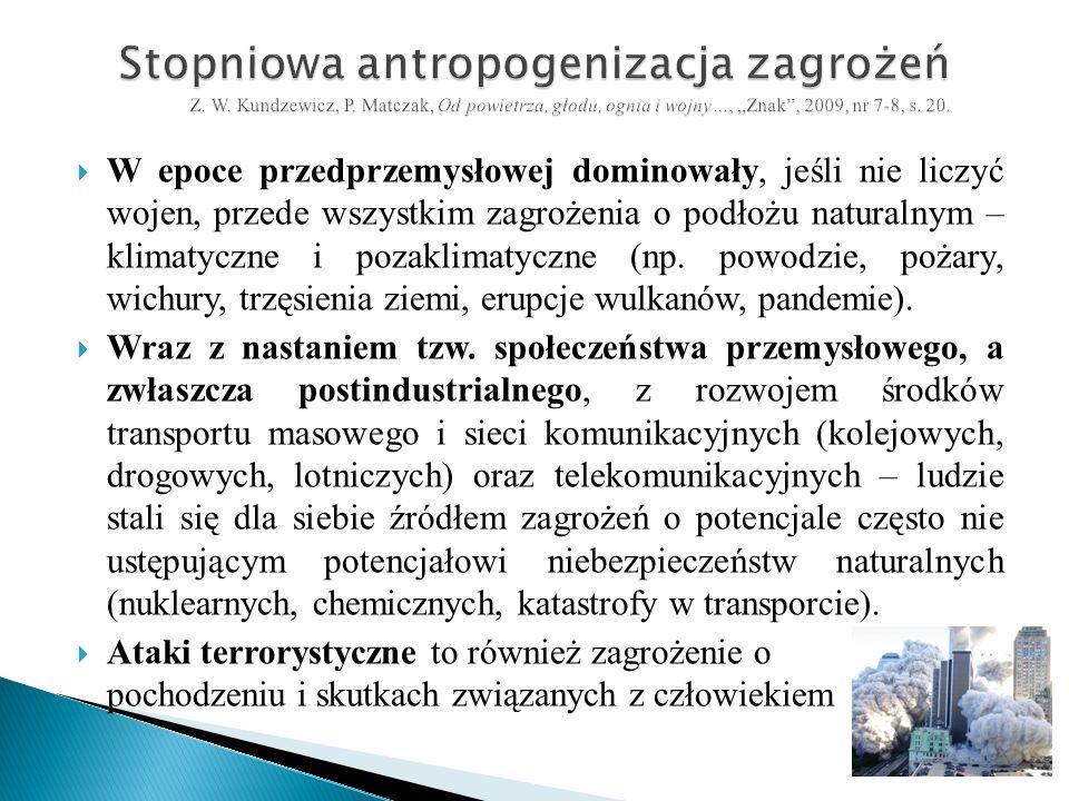 Stopniowa antropogenizacja zagrożeń Z. W. Kundzewicz, P