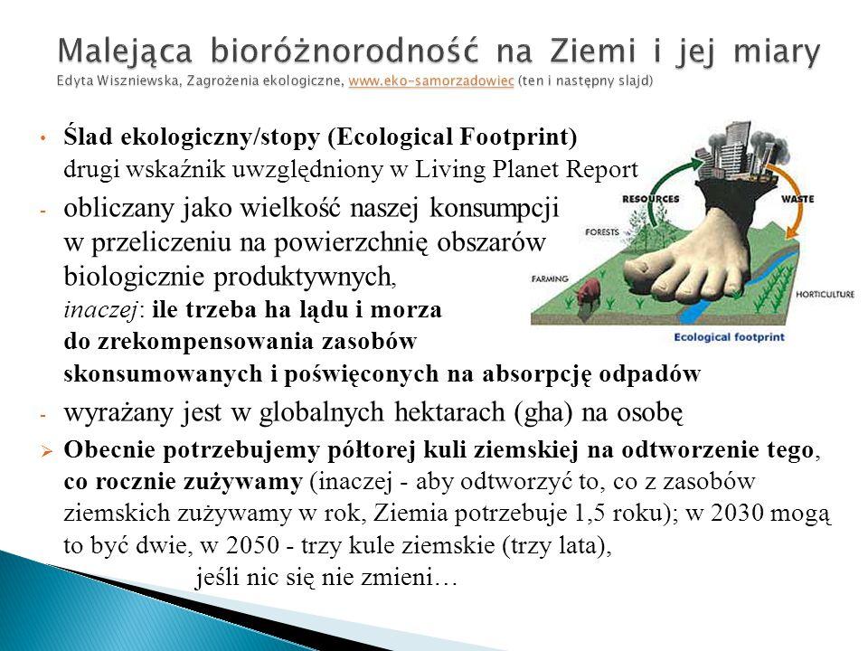 Malejąca bioróżnorodność na Ziemi i jej miary Edyta Wiszniewska, Zagrożenia ekologiczne, www.eko-samorzadowiec (ten i następny slajd)