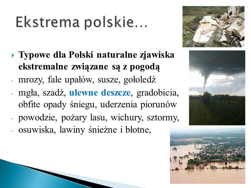 Ekstrema polskie… Typowe dla Polski naturalne zjawiska ekstremalne związane są z pogodą. mrozy, fale upałów, susze, gołoledź.