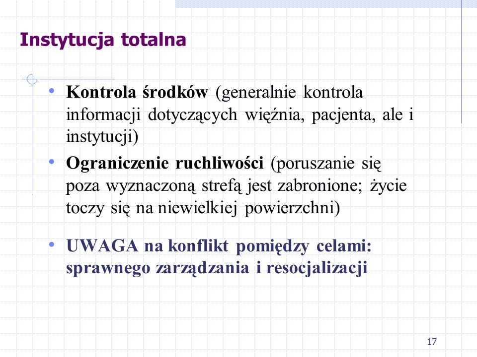 Instytucja totalna Kontrola środków (generalnie kontrola informacji dotyczących więźnia, pacjenta, ale i instytucji)