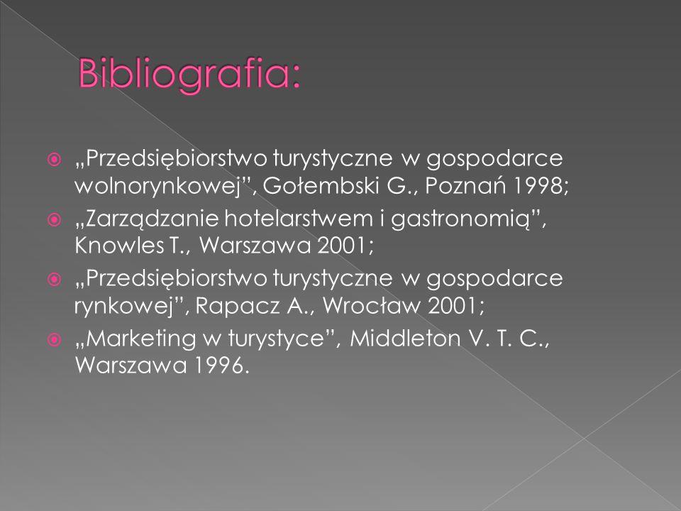 """Bibliografia: """"Przedsiębiorstwo turystyczne w gospodarce wolnorynkowej , Gołembski G., Poznań 1998;"""