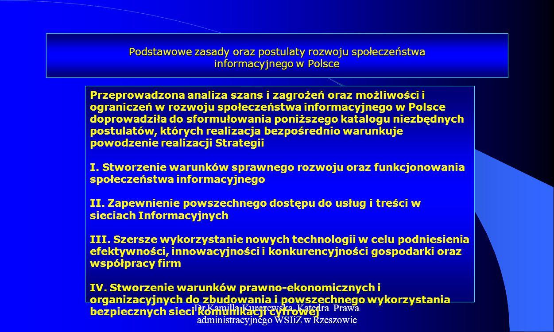 Podstawowe zasady oraz postulaty rozwoju społeczeństwa informacyjnego w Polsce