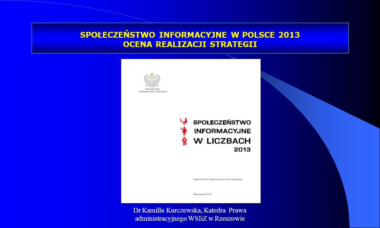 SPOŁECZEŃSTWO INFORMACYJNE W POLSCE 2013 OCENA REALIZACJI STRATEGII