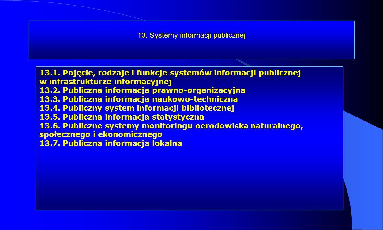 13. Systemy informacji publicznej