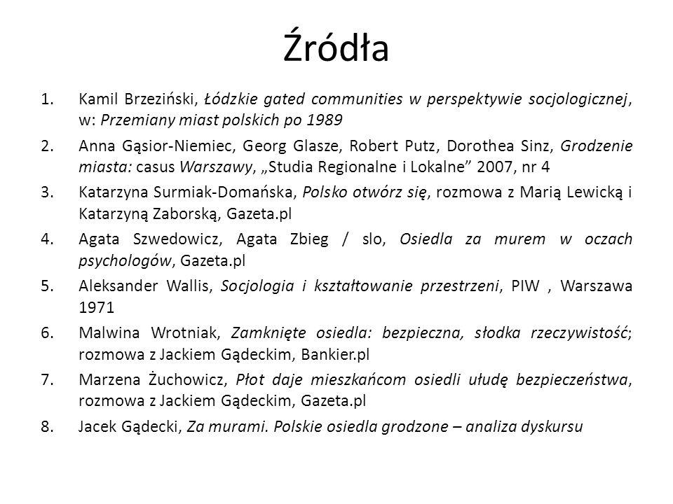 Źródła Kamil Brzeziński, Łódzkie gated communities w perspektywie socjologicznej, w: Przemiany miast polskich po 1989.