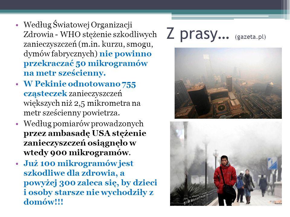 Według Światowej Organizacji Zdrowia - WHO stężenie szkodliwych zanieczyszczeń (m.in. kurzu, smogu, dymów fabrycznych) nie powinno przekraczać 50 mikrogramów na metr sześcienny.