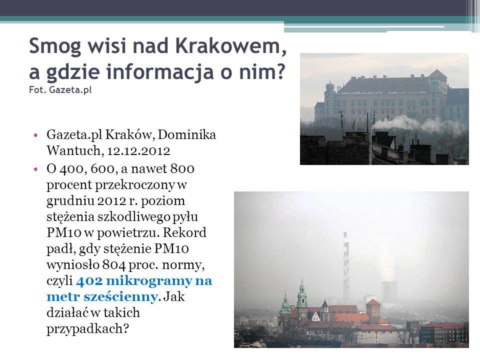 Smog wisi nad Krakowem, a gdzie informacja o nim Fot. Gazeta.pl