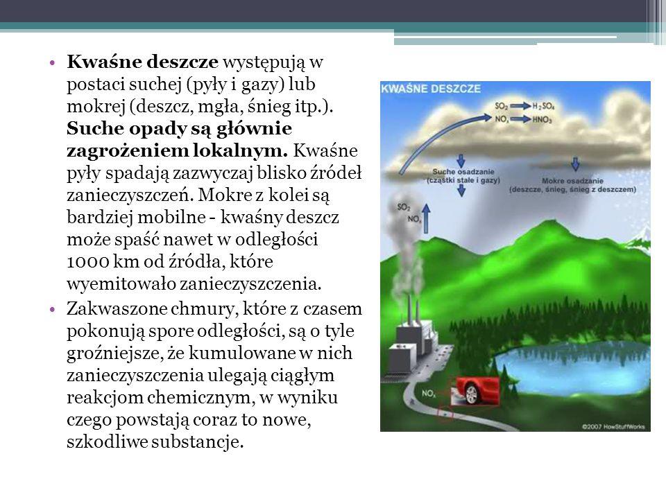 Kwaśne deszcze występują w postaci suchej (pyły i gazy) lub mokrej (deszcz, mgła, śnieg itp.). Suche opady są głównie zagrożeniem lokalnym. Kwaśne pyły spadają zazwyczaj blisko źródeł zanieczyszczeń. Mokre z kolei są bardziej mobilne - kwaśny deszcz może spaść nawet w odległości 1000 km od źródła, które wyemitowało zanieczyszczenia.
