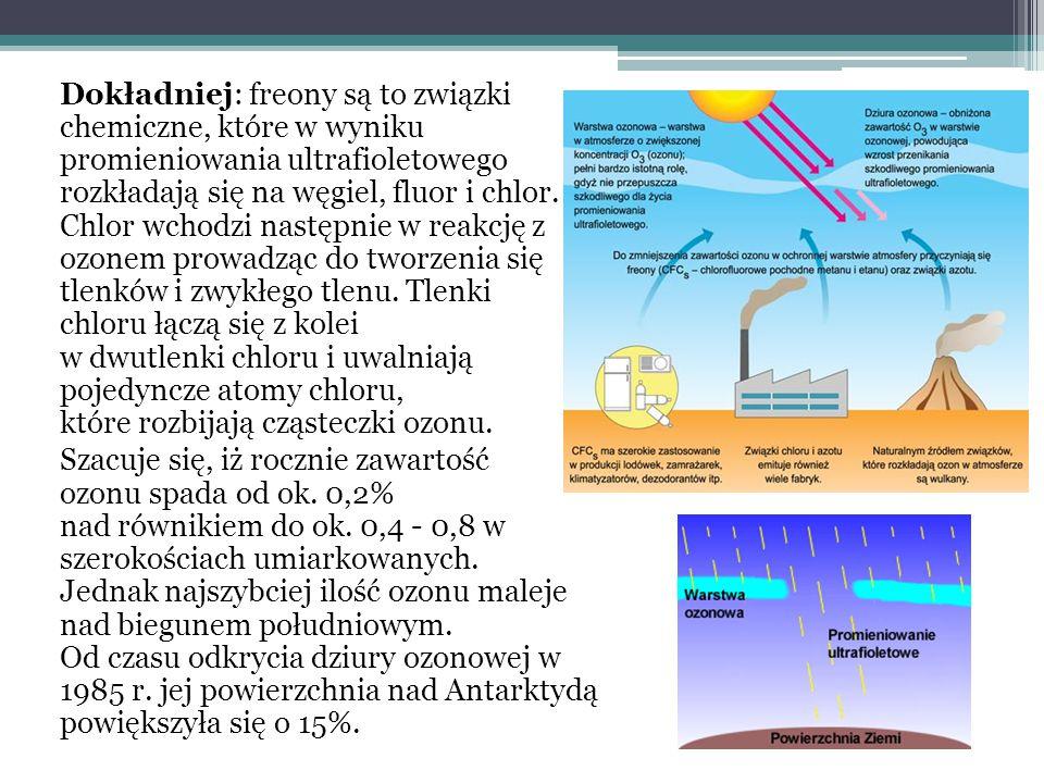 Dokładniej: freony są to związki chemiczne, które w wyniku promieniowania ultrafioletowego rozkładają się na węgiel, fluor i chlor. Chlor wchodzi następnie w reakcję z ozonem prowadząc do tworzenia się tlenków i zwykłego tlenu. Tlenki chloru łączą się z kolei w dwutlenki chloru i uwalniają pojedyncze atomy chloru, które rozbijają cząsteczki ozonu.