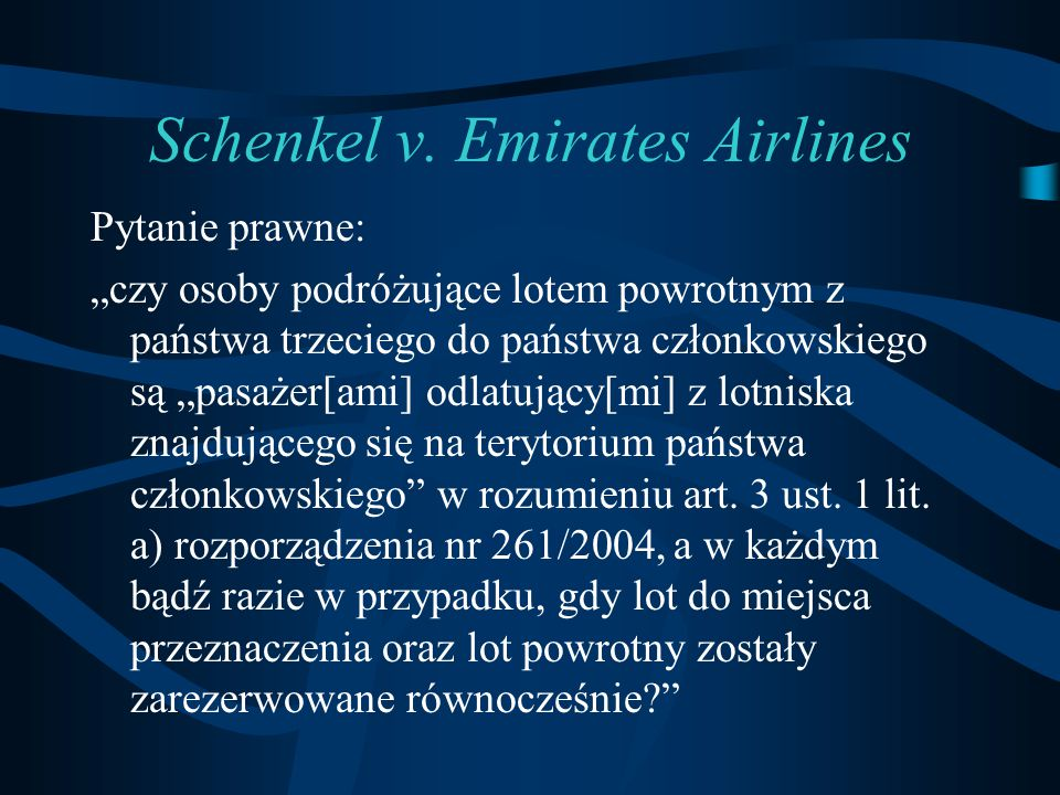 Schenkel v. Emirates Airlines