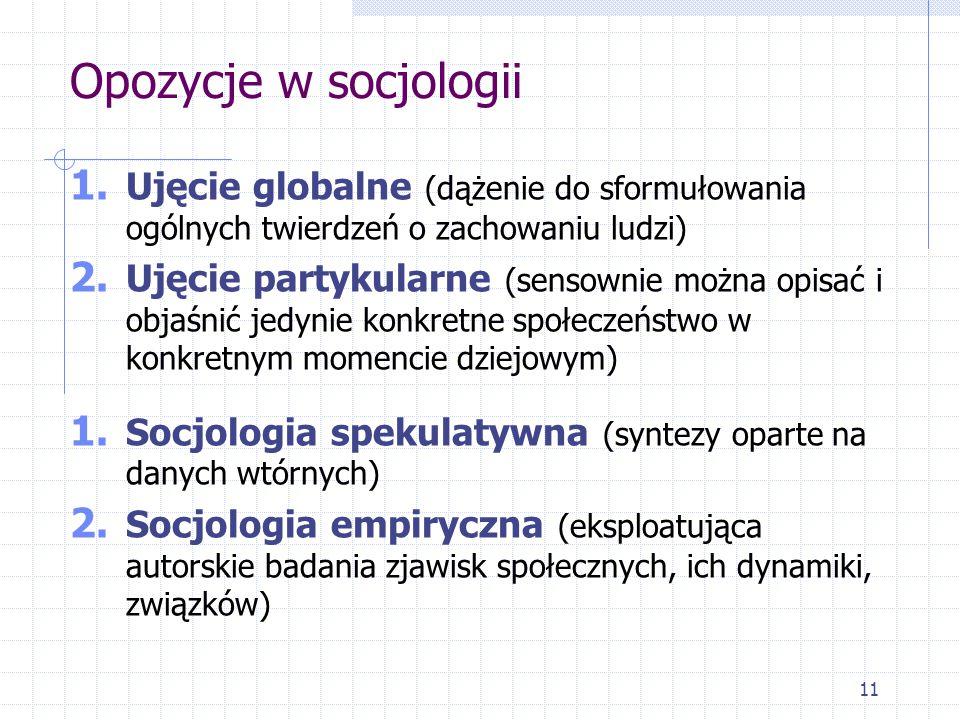 Opozycje w socjologii Ujęcie globalne (dążenie do sformułowania ogólnych twierdzeń o zachowaniu ludzi)