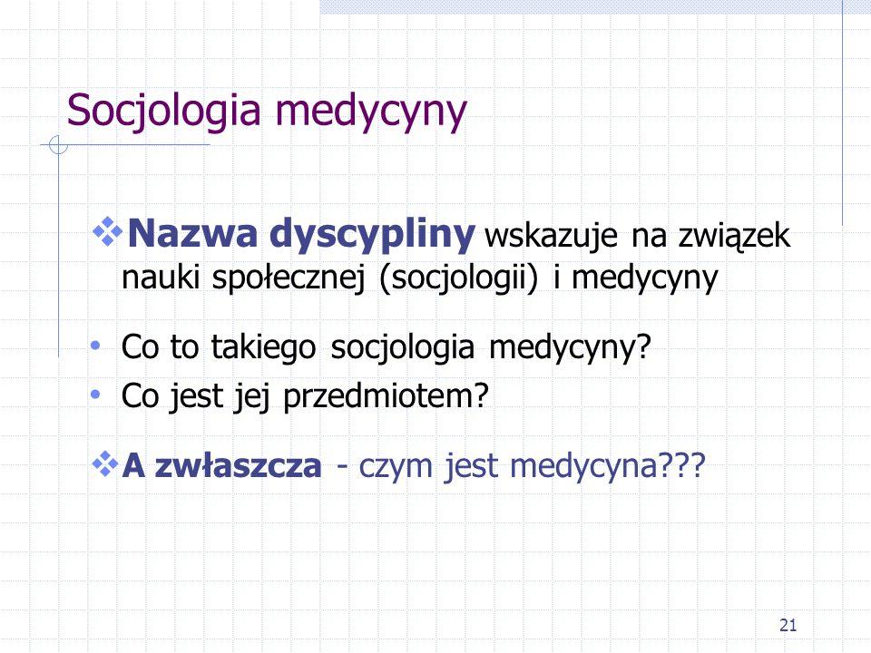 Socjologia medycyny Nazwa dyscypliny wskazuje na związek nauki społecznej (socjologii) i medycyny. Co to takiego socjologia medycyny