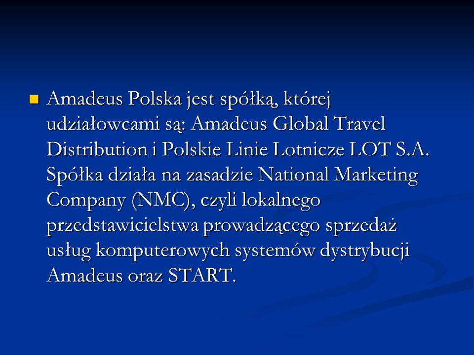 Amadeus Polska jest spółką, której udziałowcami są: Amadeus Global Travel Distribution i Polskie Linie Lotnicze LOT S.A.