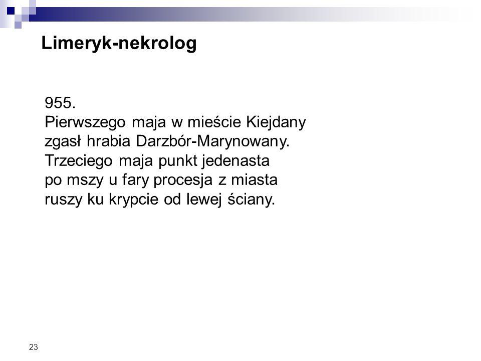 Limeryk-nekrolog 955. Pierwszego maja w mieście Kiejdany