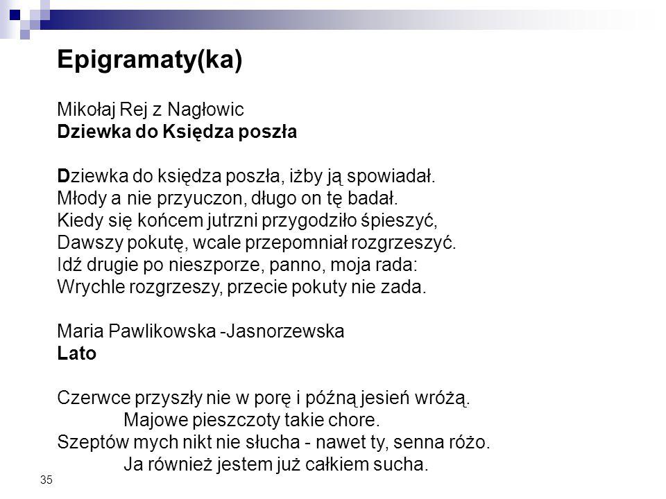 Epigramaty(ka) Mikołaj Rej z Nagłowic Dziewka do Księdza poszła