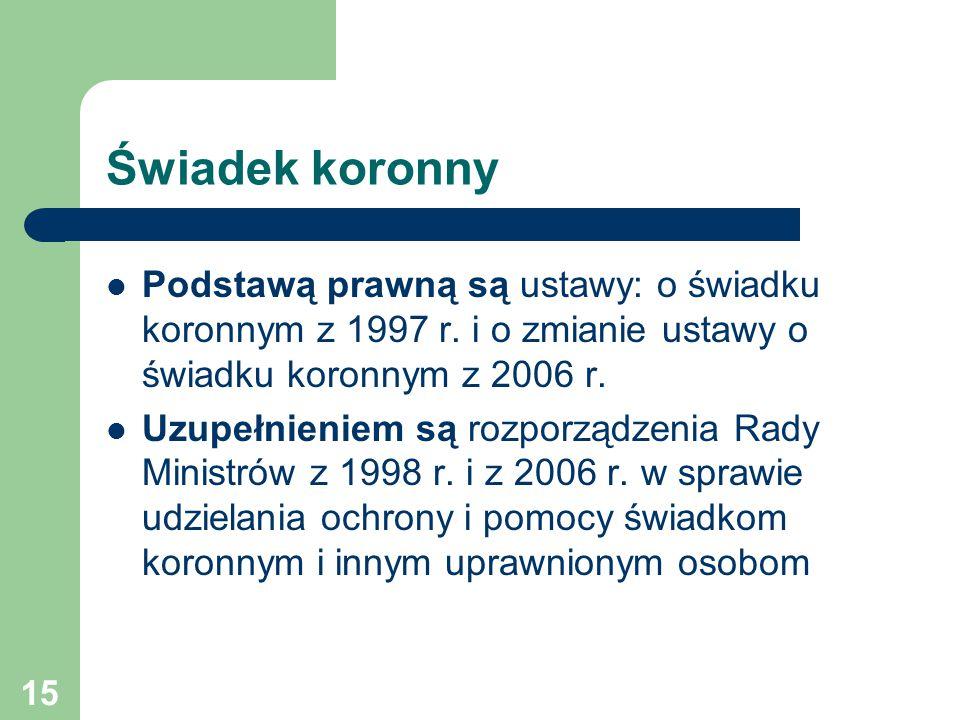 Świadek koronny Podstawą prawną są ustawy: o świadku koronnym z 1997 r. i o zmianie ustawy o świadku koronnym z 2006 r.