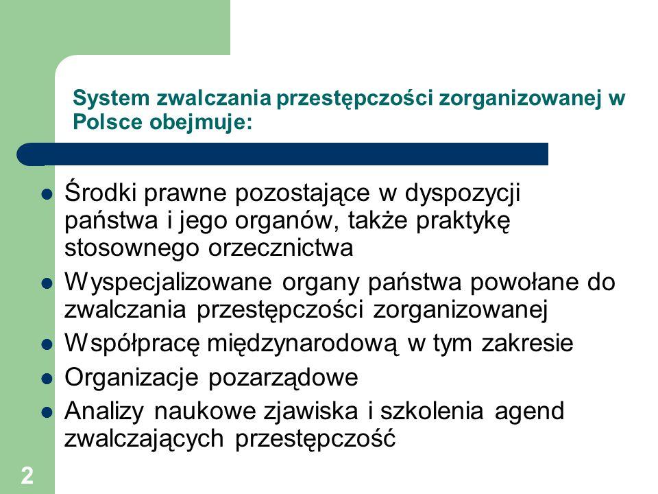 System zwalczania przestępczości zorganizowanej w Polsce obejmuje: