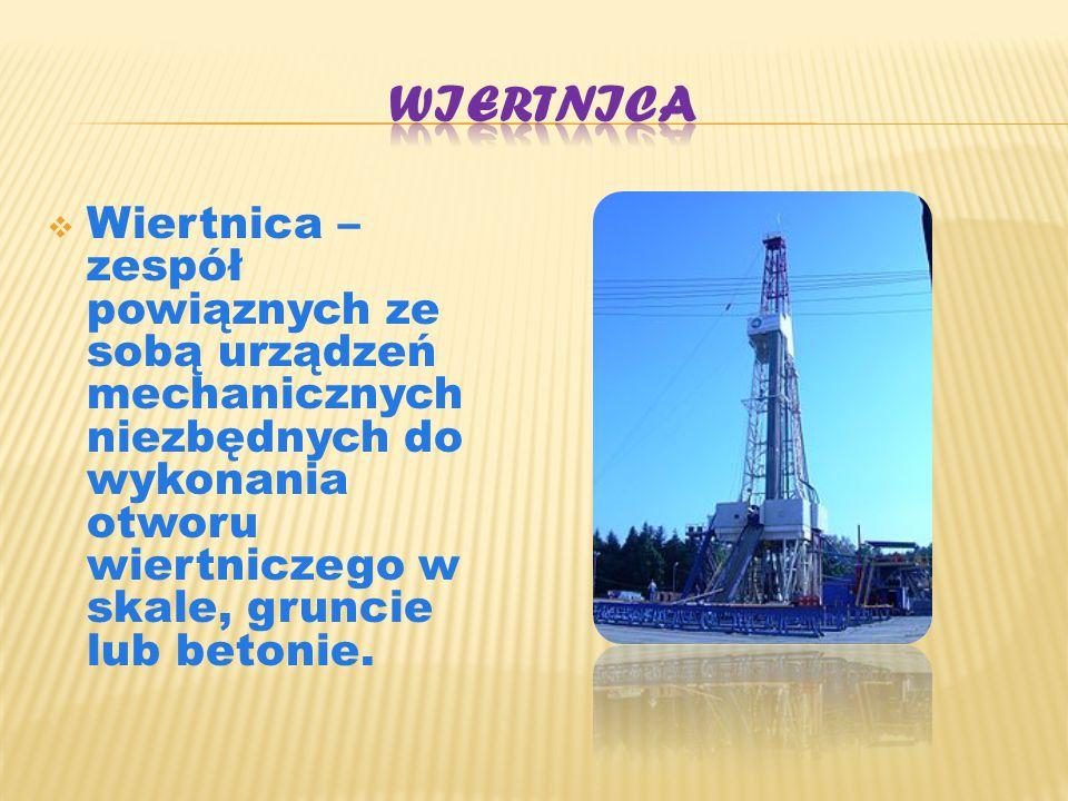 Wiertnica Wiertnica – zespół powiąznych ze sobą urządzeń mechanicznych niezbędnych do wykonania otworu wiertniczego w skale, gruncie lub betonie.