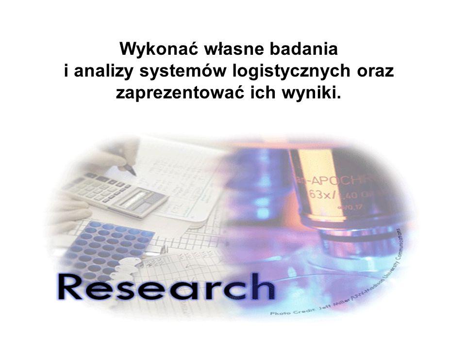 Wykonać własne badania i analizy systemów logistycznych oraz zaprezentować ich wyniki.
