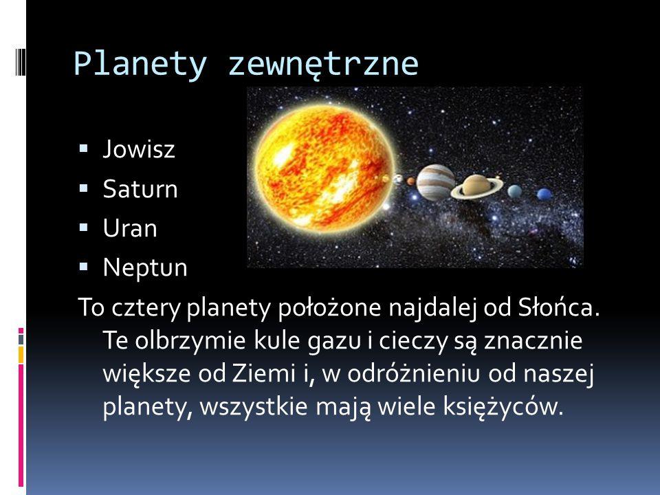 Planety zewnętrzne Jowisz Saturn Uran Neptun