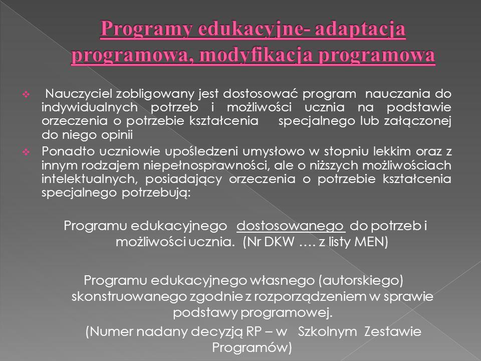 Programy edukacyjne- adaptacja programowa, modyfikacja programowa