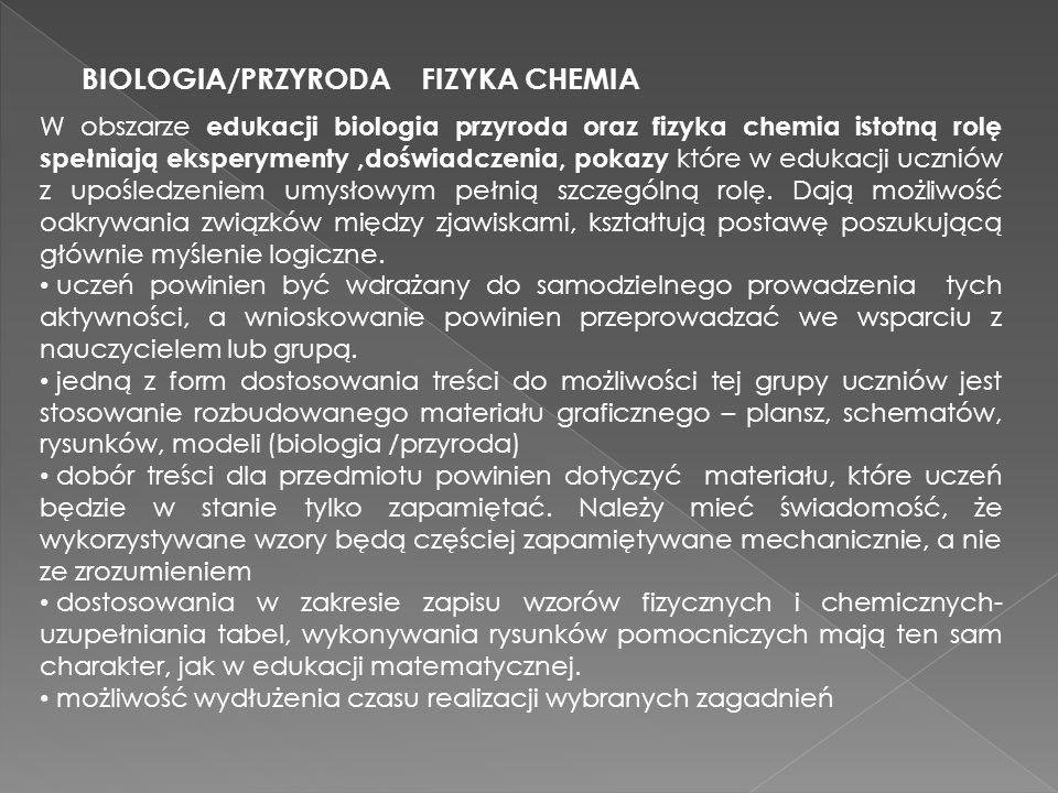 BIOLOGIA/PRZYRODA FIZYKA CHEMIA