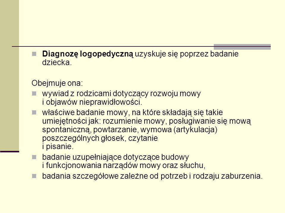 Diagnozę logopedyczną uzyskuje się poprzez badanie dziecka.