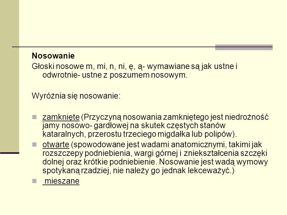 Nosowanie Głoski nosowe m, mi, n, ni, ę, ą- wymawiane są jak ustne i odwrotnie- ustne z poszumem nosowym.