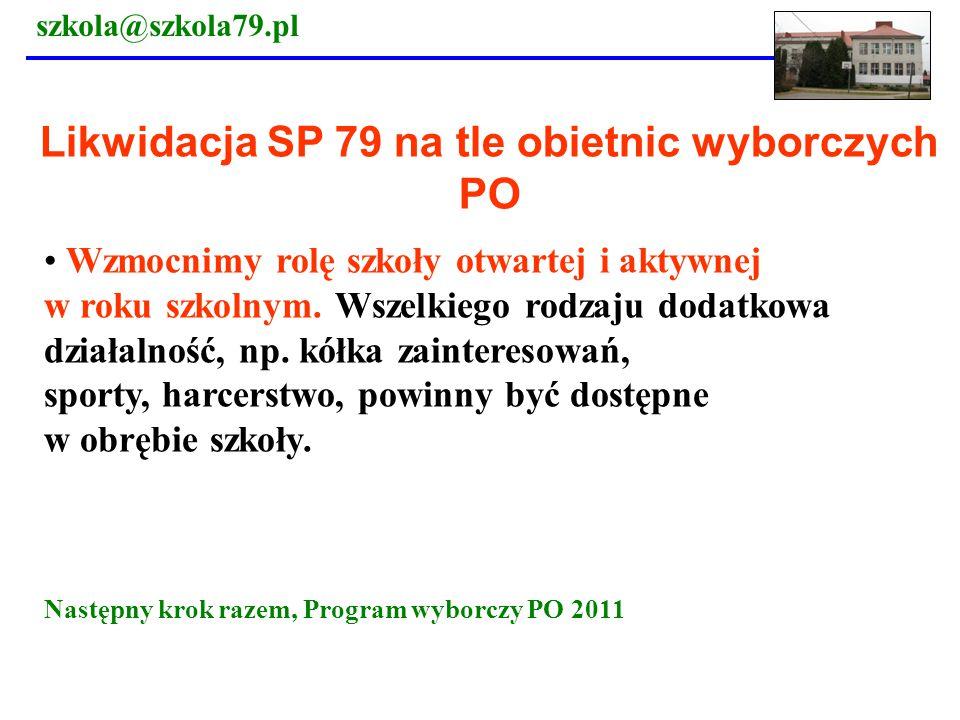 Likwidacja SP 79 na tle obietnic wyborczych PO